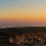 Chesil beach, Hardy's monument, winter sunset