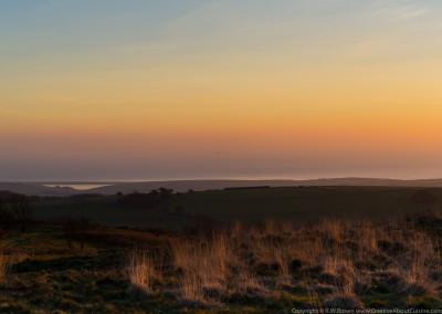 Chesil beach, Hardy's monument, winter sunset