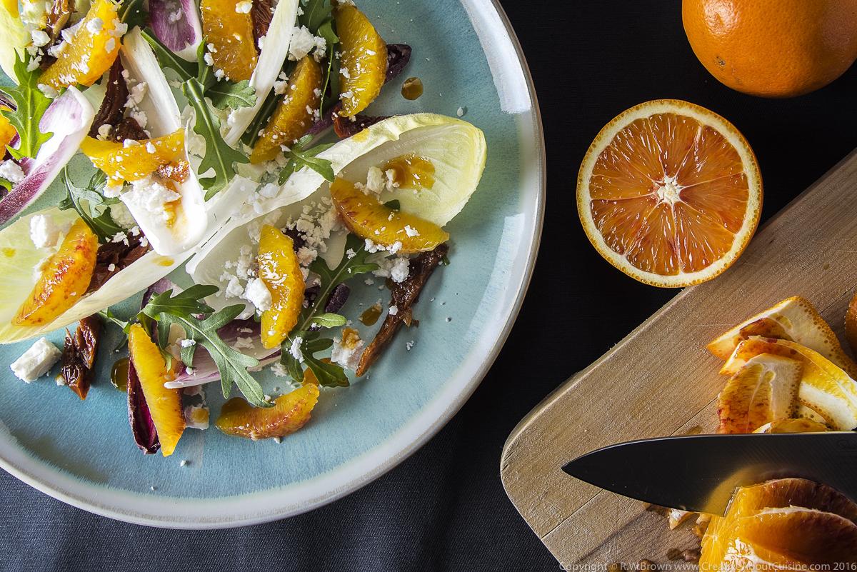 Blood orange, chicory and feta salad